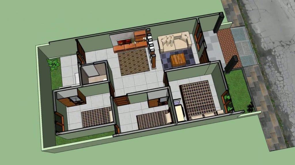 Desain Rumah Sederhana 6x12 dengan 3 Kamar