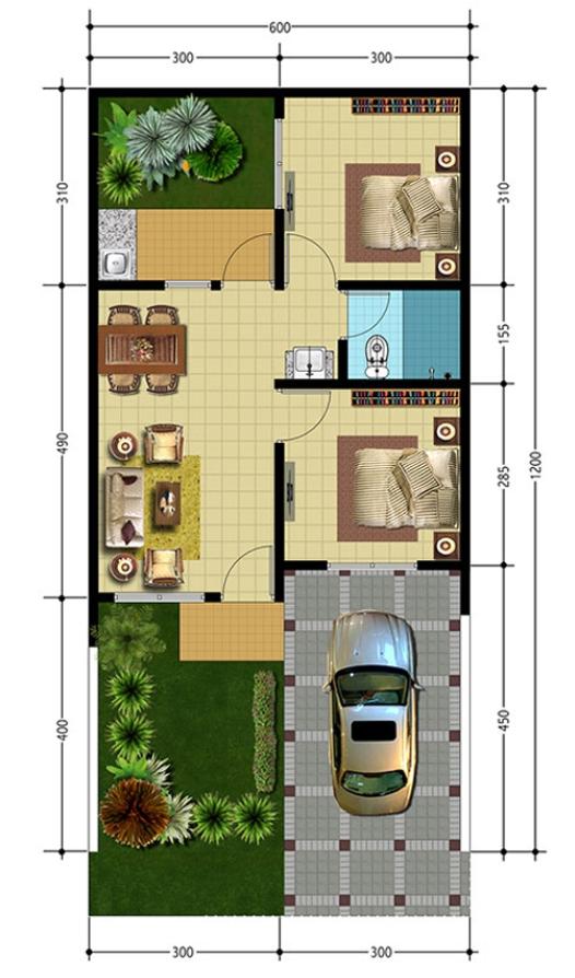 Desain Rumah Sederhana 6x12 dengan Halaman yang Luas