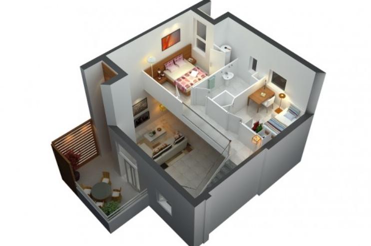 Rumah Minimalis dengan Twin Bed di Lantai 2