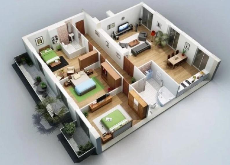 Desain Rumah 3 Kamar Tanpa Adanya Sekat