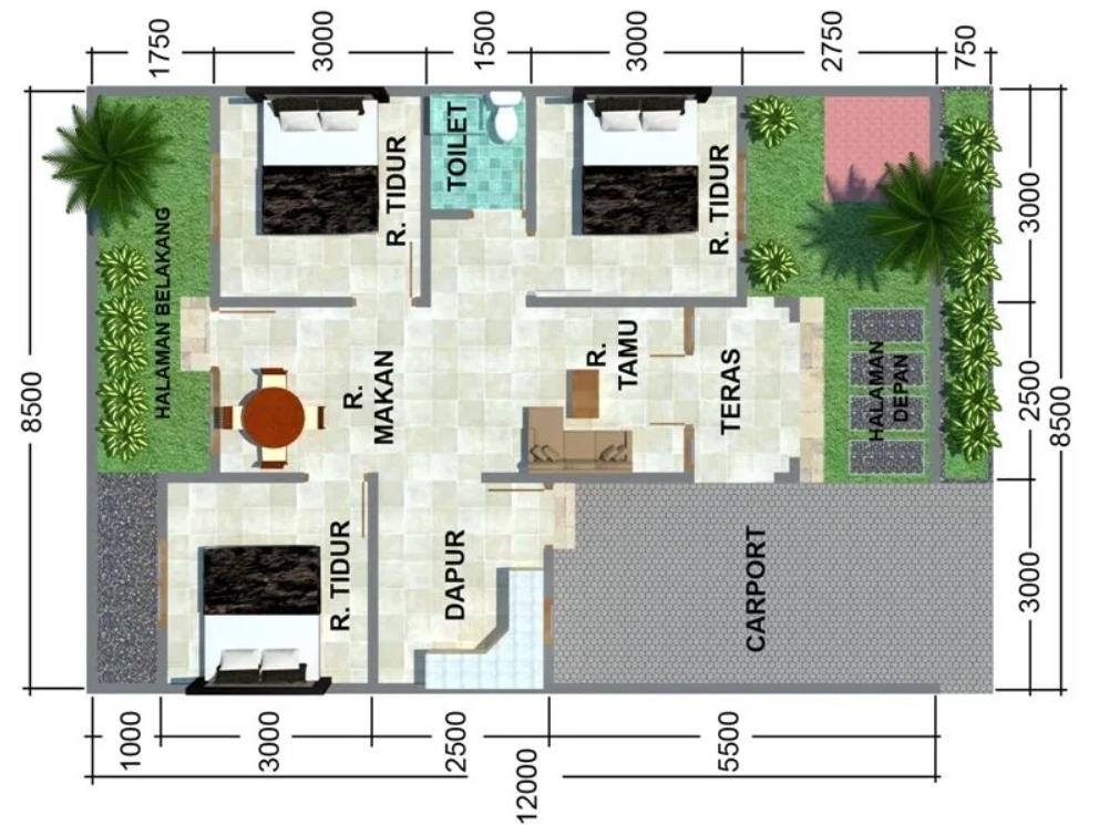 Desain Rumah 3 Kamar dengan Luas 140 m2
