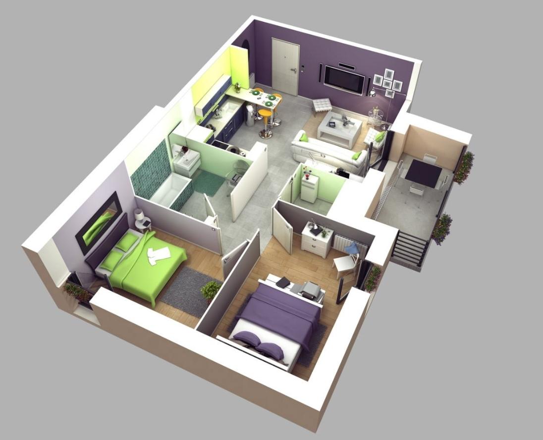Desain Rumah 6x9 2 Kamar Tidur