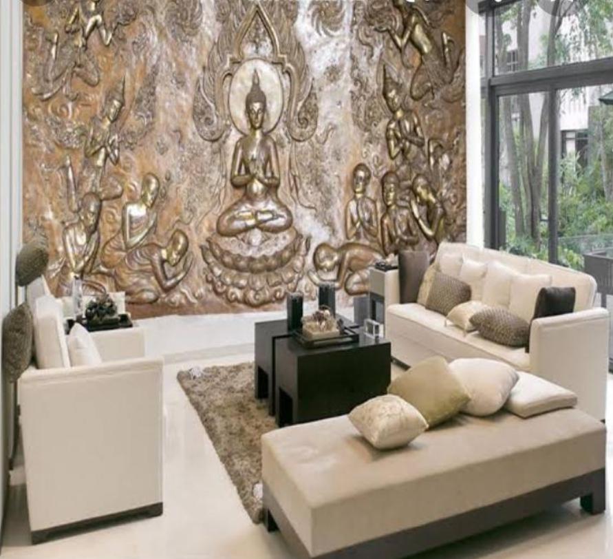 Desain Rumah dengan Ukiran pada Dinding